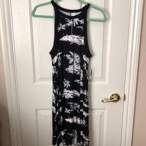 Old Navy black/white palm tree beach halter dress